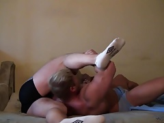 Str8 muscle friends flexing and bed wrestling