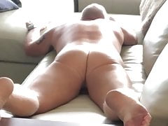 Daddy leather couch humping